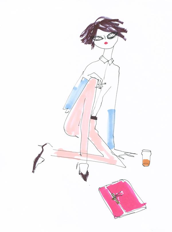 contrast sleeve shirt celine poudre pink pants pointy loafers clasp shoulder bag